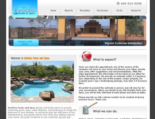 Dixileta Pools - Custom Website Design with Flash