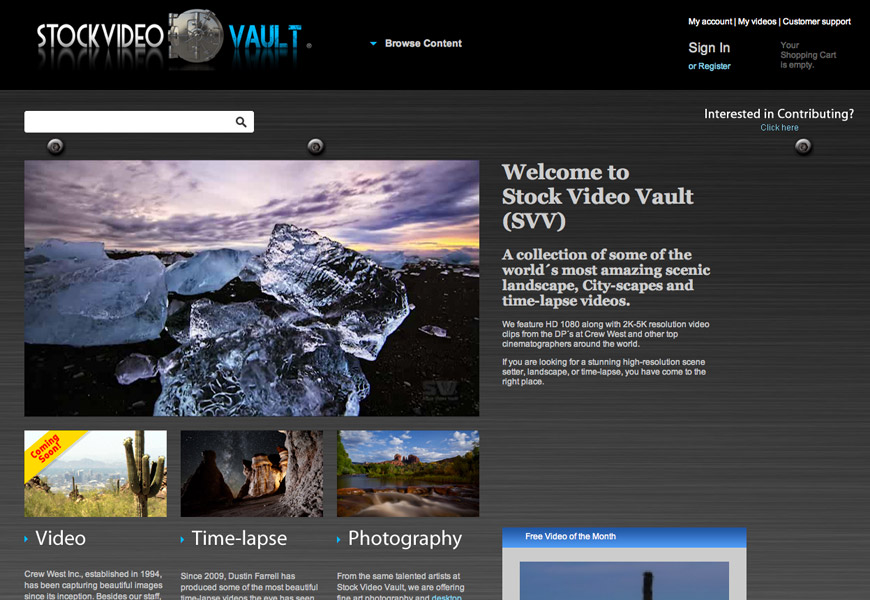 Stock VIdeo Vault - Custom CMS