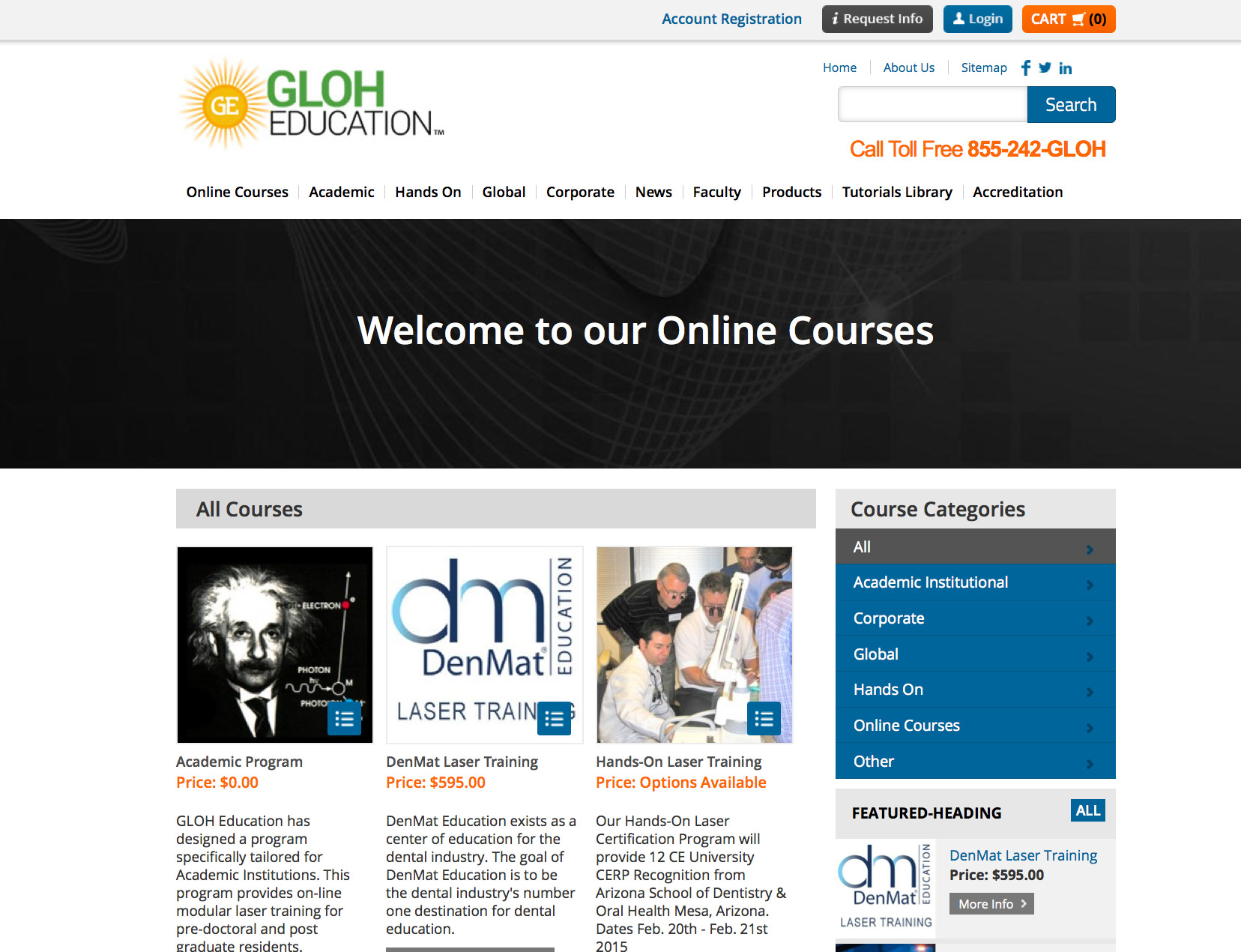 Phoenix web designers creative professional website design gloh education custom online dental laser school xflitez Gallery